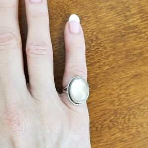 Faceted quartz sterling silver ring